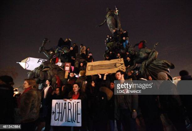 People take part in a Unity rally Marche Republicaine on January 11 2015 at the Place de la Nation in Paris in tribute to the 17 victims of a...