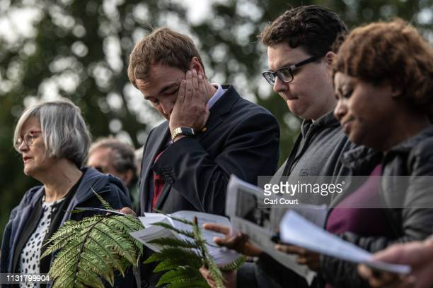 People take part in a vigil to remember victims of the Christchurch mosque attacks on March 21 2019 in Christchurch New Zealand 50 people were killed...