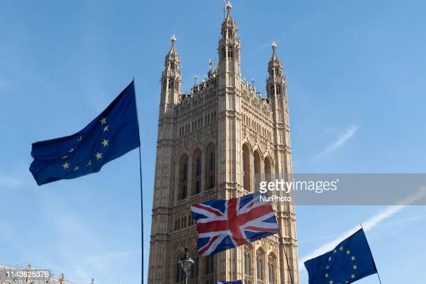 People take part in an AntiBrexit demonstration outside the Houses of Parliament in London United Kingdom on May 13 2019