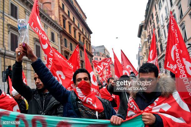 People take part in an antifascist march called by the Italian leftwing parties and union organisations in central Rome on February 24 2018 a week...