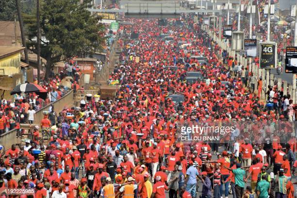 People take part in an antigovernment rally to protest against President Alpha Conde plans to stay in office for a third term on January 6 2020 in...