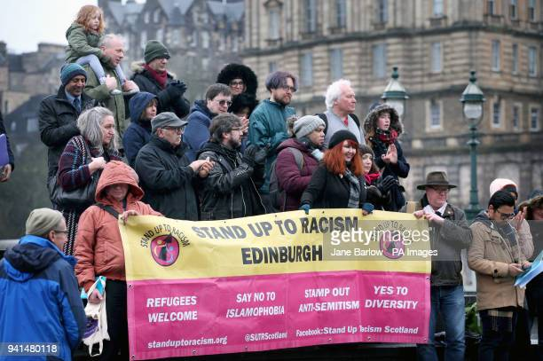 People take part in an antiracism rally in Edinburgh city centre to protest against a hate campaign called quotpunish a Muslimquot