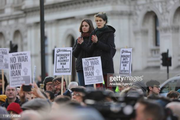 People take part in an anti-war rally following the killing of Iranian Revolutionary Guards' Quds Force commander Qasem Soleimani by a US airstrike...