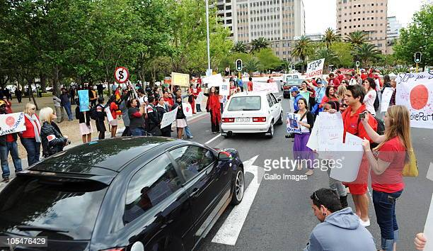 People take part in an international protest against the use of dolphin meat on Hertzog Boulevard on October 14 2010 in Cape Town South Africa Crowds...
