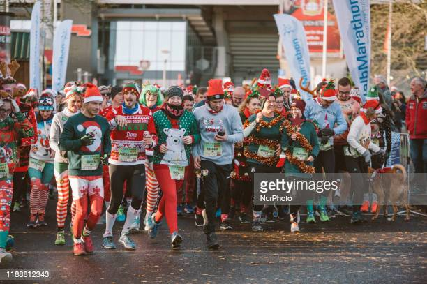 People take part in an Ugly Christmas Sweater Run on 15 December 2019 in Leverkusen Germany 500 people take part in Ugly Christmas Sweater Run at the...
