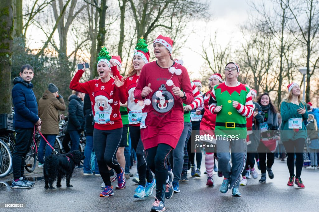 Ugly Christmas Sweater Run in Amsterdam : News Photo