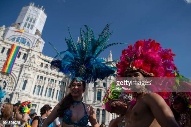 People take part in annual LGBT Pride in Madrid on July 7 2018