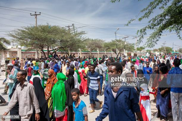 People take part in celebrations of the 27th anniversary of selfdeclared independence of Somaliland in Hargeisa northwestern Somalia on May 15 three...