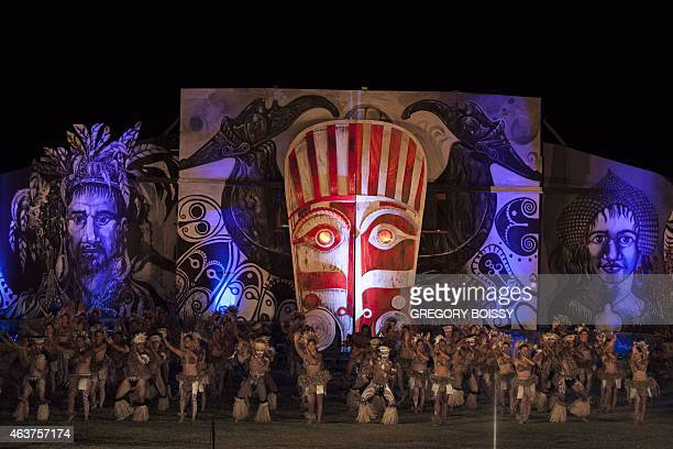 People take part in dance contest in Hanga Roa on Chile's Easter Island in the Pacific Ocean on February 10 2015 as part of the 47th edition of...