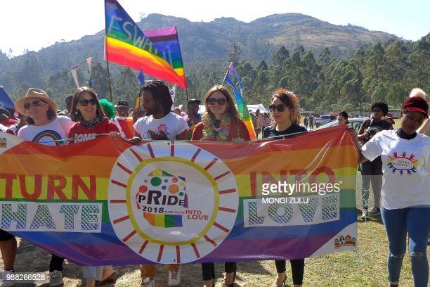 People take part in eSwatini's first Gay Pride in Mbabane on June 30 2018 Hundreds of protestors attended eSwatini's first gay pride march on June 30...