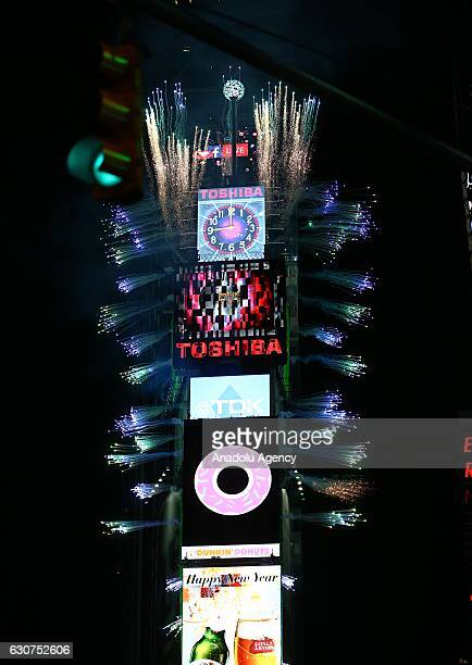 People take part in New Year celebrations at New York's Times Square NY USA on December 01 2016 An estimated one million people assembled on New...