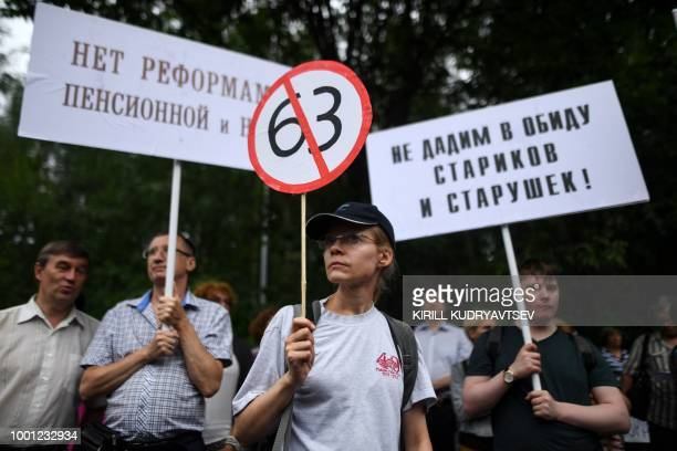 People take part in rally against pension reform in Moscow on July 18 ahead of a parliament vote Around 1000 people gathered in Moscow on July 18 to...