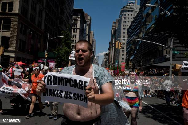 People take part in the 2017 New York City Pride March on June 25 2017 in New York City 'n