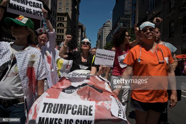 People take part in the 2017 New York City Pride March on June 25 2017 in New York City n