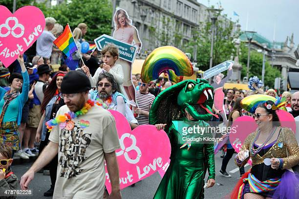 People take part in the annual Gay Pride Parade on June 27 2015 in Dublin Ireland Gay marriage was declared legal across the US in a historic supreme...