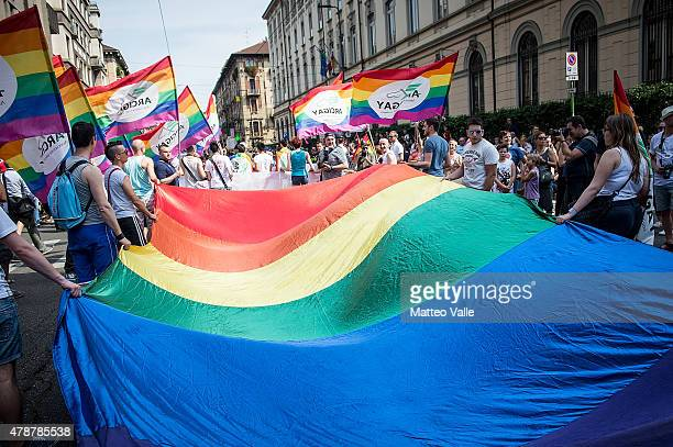 People take part in the annual Gay Pride Parade on June 27, 2015 in Milan, Italy. Gay marriage was declared legal across the US in a historic supreme...