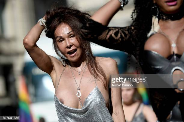 People take part in the annual Lesbian Gay Bisexual and Transgender Pride Parade also known as Gay Pride