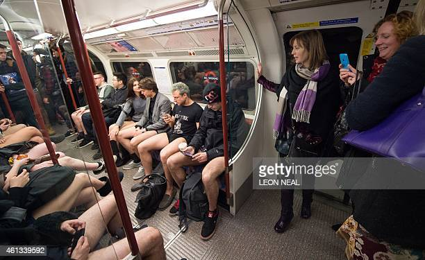 "People take part in the annual ""No Trousers On The Tube Day"" event in central London on January 11, 2015. Originally started in the US, the..."