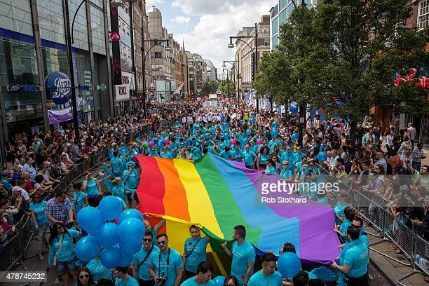 People take part in the annual Pride in London Parade on June 27 2015 in London England Pride in London is one of the world's biggest LGBT...