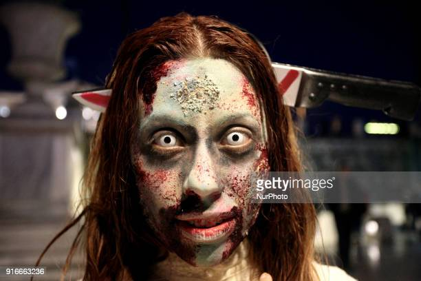 People take part in the annual Zombie Walk in Athens Greece on February 10 2018 People dress and use makeup in order to look like zombies and fiction...