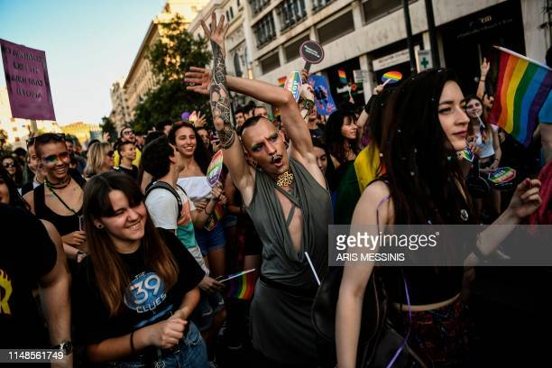 People take part in the Athens Gay Pride in Athens on June 8 2019 Thousands marched in the 15th annual Athens Pride parade on June 8 that was...