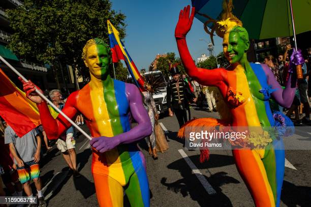 People take part in the Barcelona Pride parade on June 29 2019 in Barcelona Spain Thousands have been marching in Barcelona Pride Festivities which...