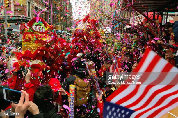 People take part in the Chinese Lunar New Year parade in Chinatown on February 25 2018 in New York City The Chinese New Year parade is one of the...