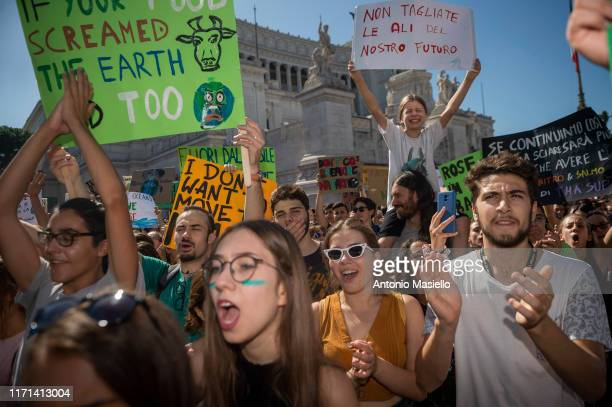 People take part in the climate march 'Fridays for Future' on September 27 2019 in Rome Italy Thousands of people took part at the Global Climate...