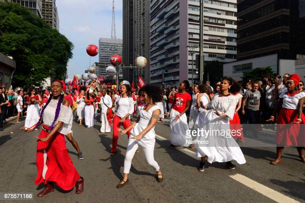 People take part in the Labour Day march held in downtown São Paulo Brazil on 01 May 2017 Labor Day or May Day is observed all over the world on the...