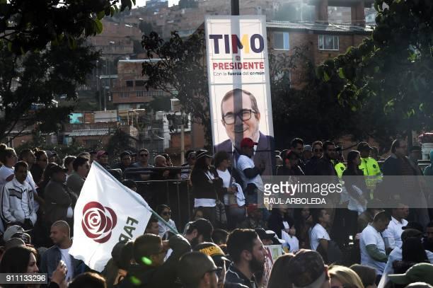 People take part in the launch of the political campaign for president of FARC leader Rodrigo Londono Echeverri known as 'Timochenko' in Ciudad...