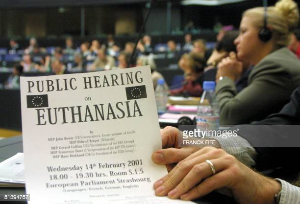 People take part in the meeting on euthanasia 14 February 2001 at the European Parliament in Strasbourg