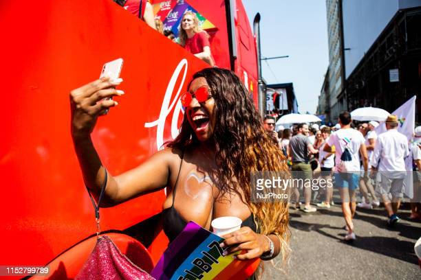 People take part in the Milano Pride 2019 in Milan, Italy, on June 29, 2019.