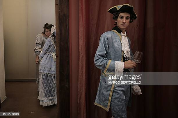 People take part in the Nuit Royale event a bal in costume of the eighteenth century at the palace of Venaria Reale a former royal residence on...