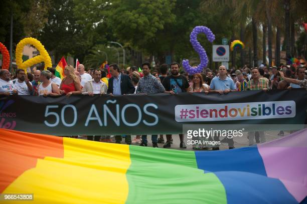 People take part in the Pride LGTB Torremolinos 2018 The large banner reads Fifty years being visibles Torremolinos celebrates this week the LGBT...