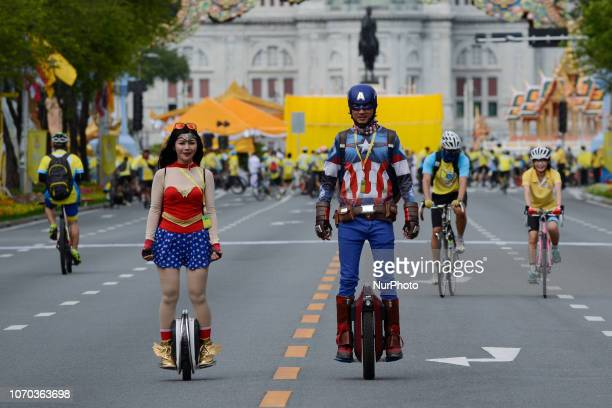 People take part in the quotUn Ai Rak Bicycle Ridequot event in Bangkok Thailand on 09 December 2018