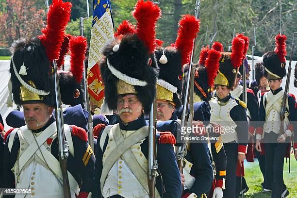 People take part in the reenactment of Napoleon's farewell to his guard on April 20 2014 in Fontainebleau France On March 31 1814 Napoleon took...