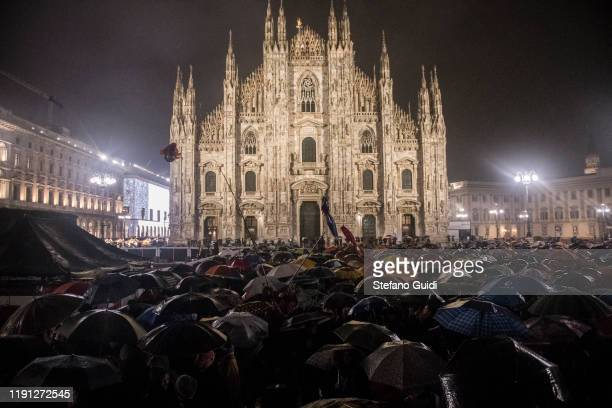 People take part in the Sardine Milan Rally Protest on December 01 2019 in Milan Italy