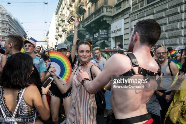 People take part in the traditional Gay Pride Parade on behalf of Milano Pride on June 29, 2019 in Milan, Italy. Milano Pride 2019 is a manifestation...