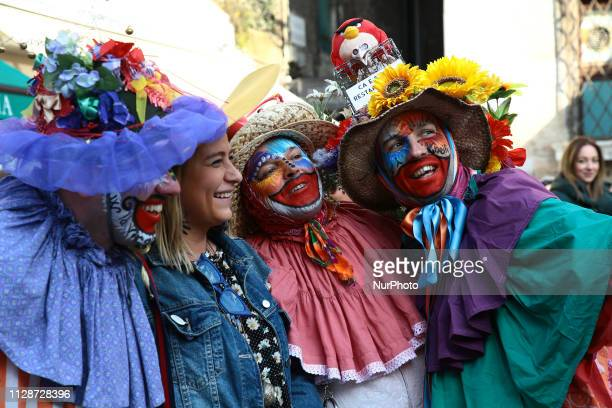 People take part in the Venice Carnival during the Thursday Fat on February 28 2019 in Venice Italy The cultural association LArte dei Mascareri...
