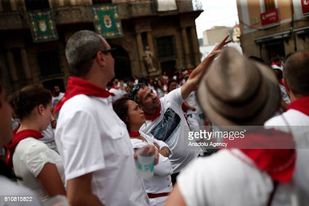 People take part in varied activities after the Encierro Running of the Bulls within the San Fermin Festival held in Pamplona Spain on July 08 2017...