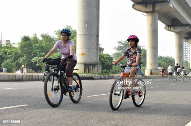 People take part in various activities conducted during Raahgiri Day an event organised by MCG at Sector 55 Golf Course Road on July 15 2018 in...