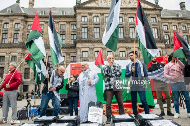 People take part on March 31th in Amsterdam Netherlands at the annual 'Land Day' to commemorate the six Arab citizens of Israel who were killed by...