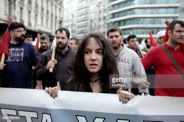 People take part to a protest march organized by PAME at Omonia square central Athens on Wednesday May 17 2017 Thousands participated to protest...
