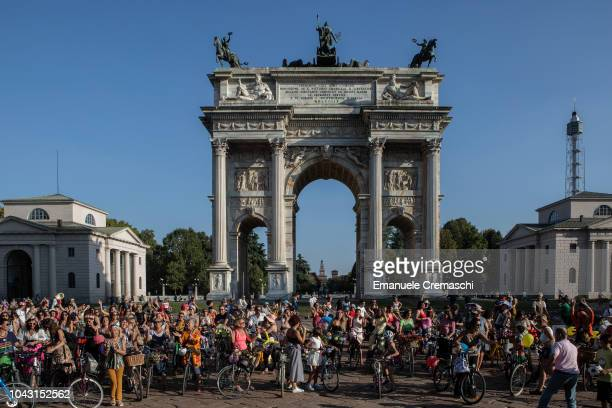 People take part to the Fancy Women Bike Ride at Arco della Pace on September 23 2018 in Milan Italy TheFancy Women Bike Ride is a worldwide cycling...