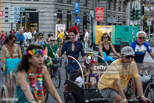 People take part to the Fancy Women Bike Ride on September 23 2018 in Milan Italy TheFancy Women Bike Ride is a worldwide cycling eventcombining a...