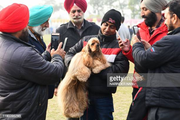 TOPSHOT People take smartphone pictures of an American Cocker Spaniel dog in his owner's arms during the 52nd and 53rd All Breed Championship Pointed...
