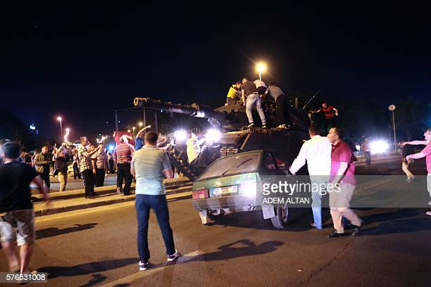 People take streets in Ankara, Turkey during a protest against military coup on July 16, 2016. 42 dead in Ankara coup attempt clashes: TV citing...