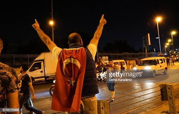 People take to the street in support of President Recep Tayyip Erdogan July 16 2016 in Istanbul Turkey Istanbul's bridges across the Bosphorus the...