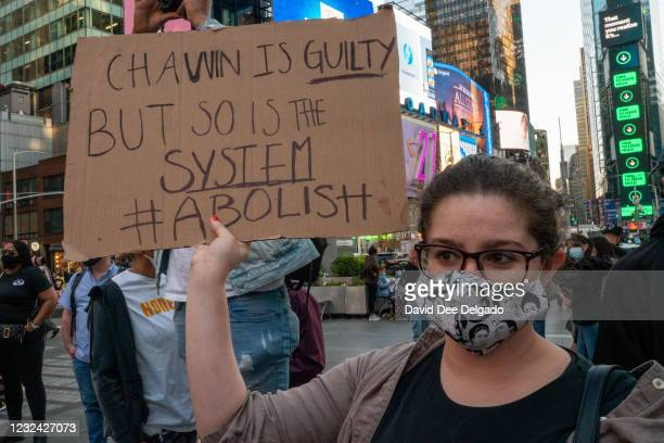 People take to the streets following the verdict in the Derek Chauvin trial on April 20, 2021 in New York City. The former Minneapolis police officer...