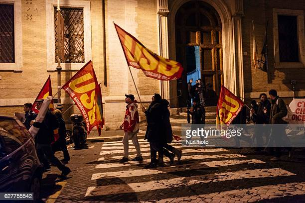 People take to the streets in Rome Italy on 5 December 2016 after the results of the italian constitutional referendum to celebrate the victory of...